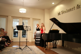 With violinist Oana Lacatus at M.Steinert and Sons in Natick